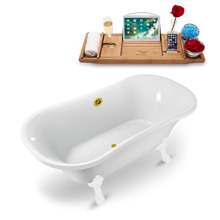 "68"" Streamline N861WH-GLD Clawfoot Tub and Tray With External Drain"