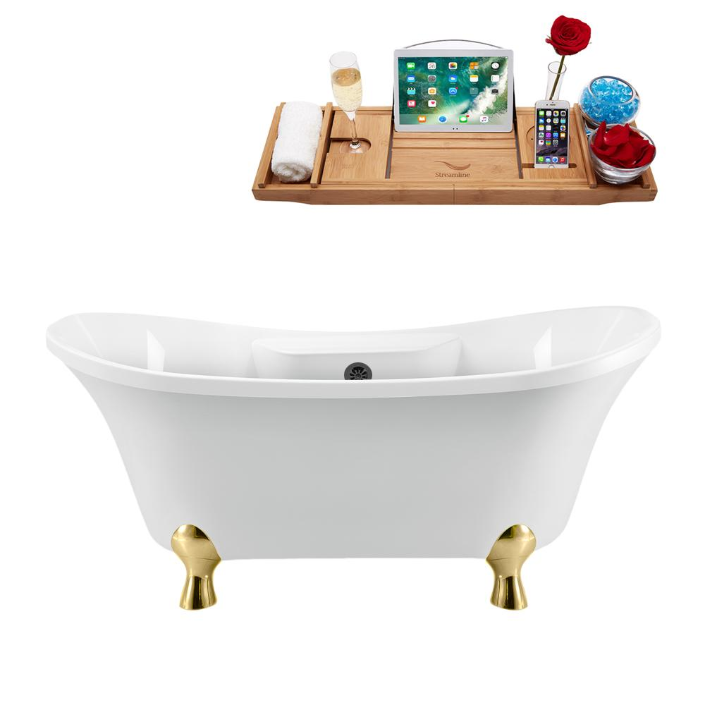 "68"" Streamline N901GLD-BL Clawfoot Tub and Tray With External Drain"