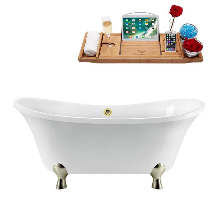 "60"" Streamline N920BNK-GLD Clawfoot Tub and Tray With External Drain"