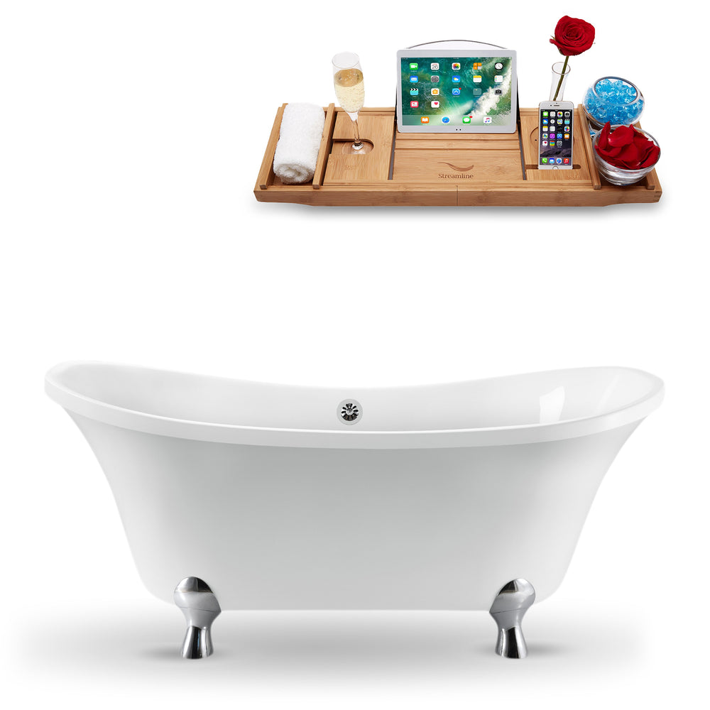 "60"" Streamline N920CH-CH Clawfoot Tub and Tray With External Drain"