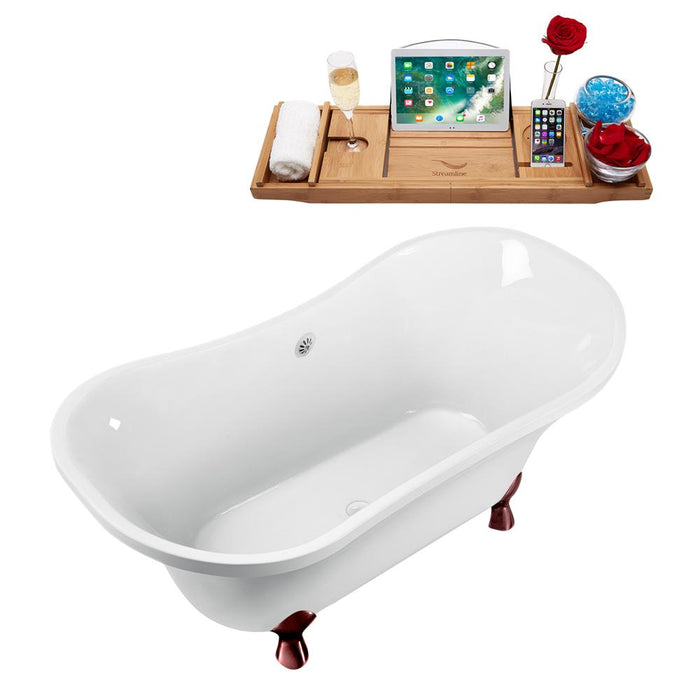 "60"" Streamline N920ORB-WH Clawfoot Tub and Tray With External Drain"