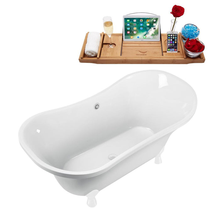 "60"" Streamline N920WH-WH Clawfoot Tub and Tray With External Drain"