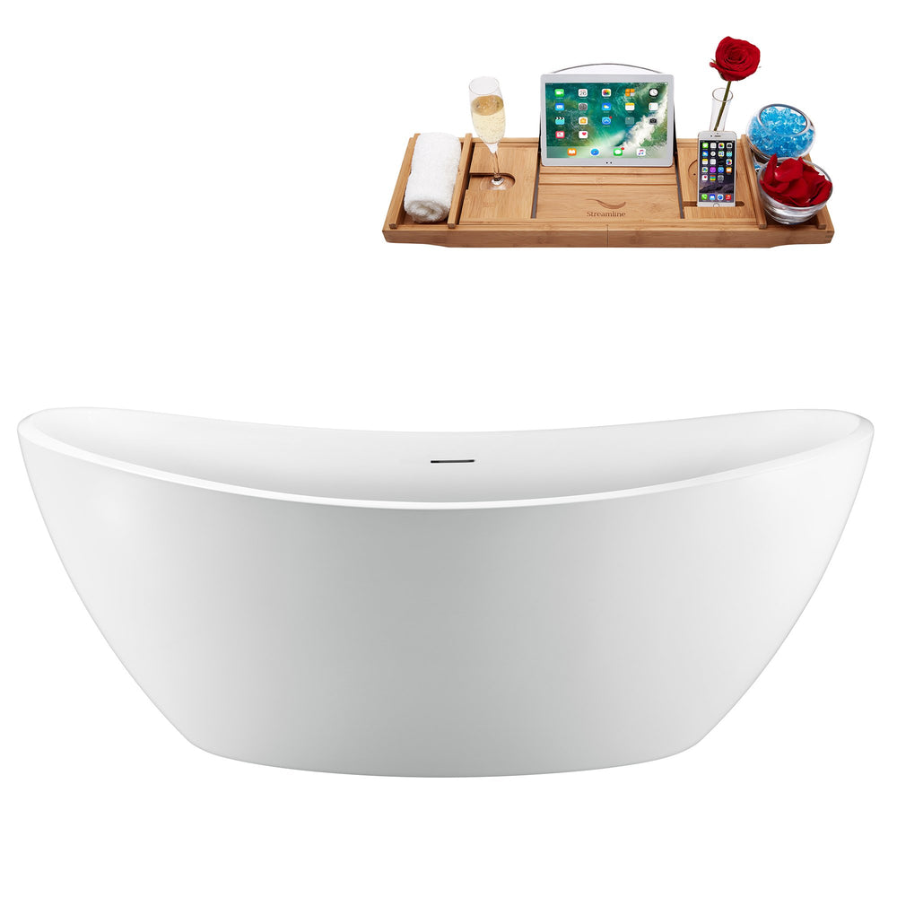 75'' Streamline N950CH Freestanding Tub and Tray With Internal Drain