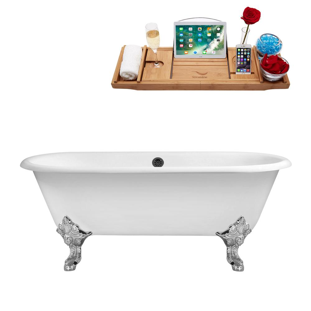 "69"" Cast Iron R5001CH-BL Soaking Clawfoot Tub and Tray with External Drain"