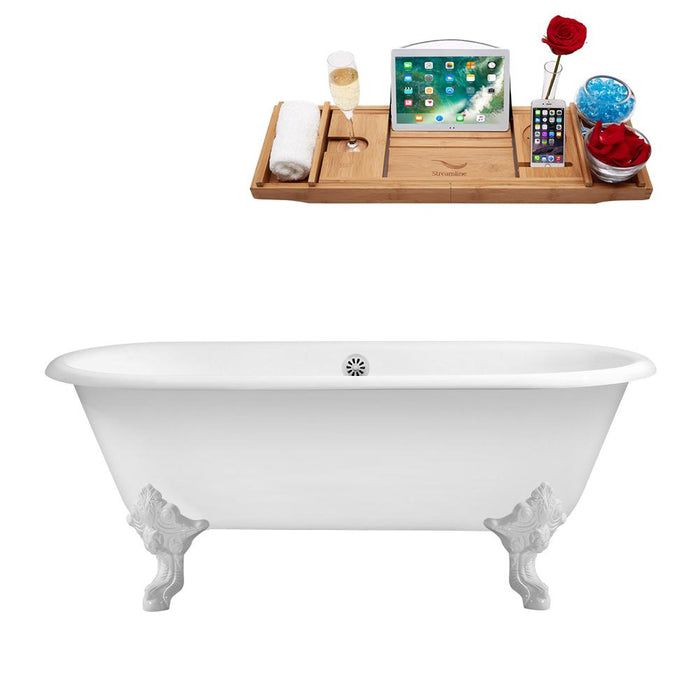 "69"" Cast Iron R5001WH-WH Soaking Clawfoot Tub and Tray with External Drain"
