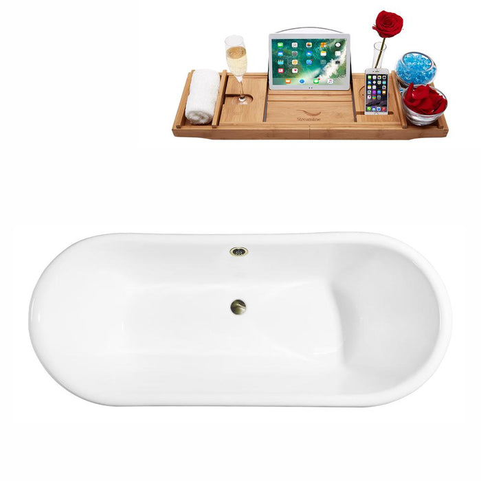 "72"" Cast Iron R5020GLD-BNK Soaking Clawfoot Tub and Tray with External Drain"