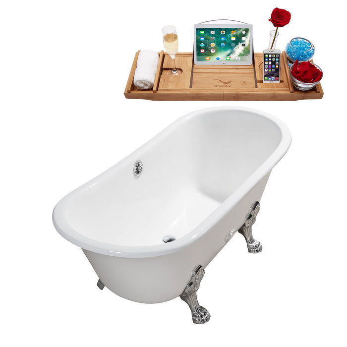 "67"" Cast Iron R5061CH-CH Soaking Clawfoot Tub and Tray with External Drain"