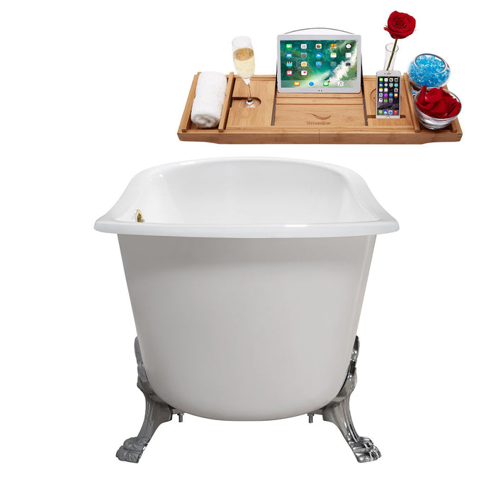"67"" Cast Iron R5061CH-GLD Soaking Clawfoot Tub and Tray with External Drain"