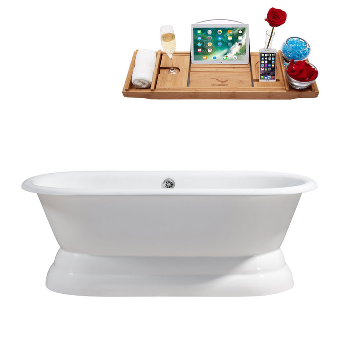 "66"" Cast Iron R5080CH Soaking freestanding Tub and Tray with External Drain"