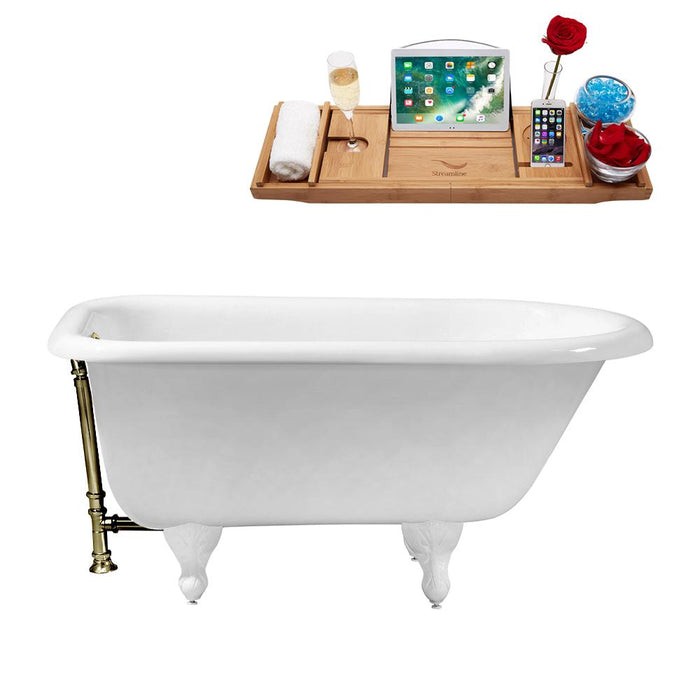 "66"" Cast Iron R5100WH-BNK Soaking Clawfoot Tub and Tray with External Drain"