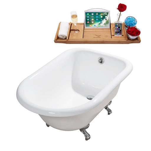 "48"" Cast Iron R5101CH-CH Soaking Clawfoot Tub and Tray with External Drain"