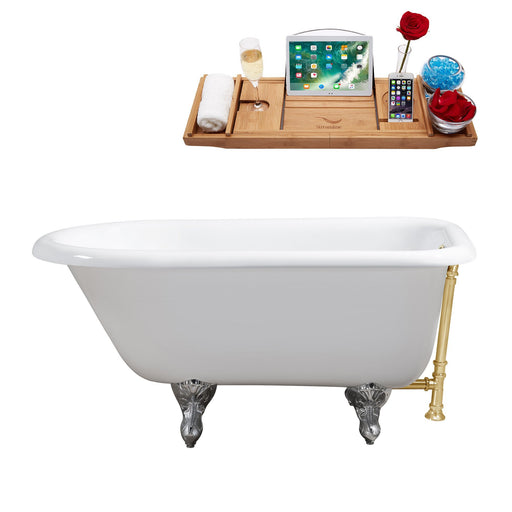 "48"" Cast Iron R5101CH-GLD Soaking Clawfoot Tub and Tray with External Drain"