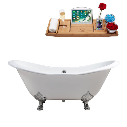 "72"" Cast Iron R5162CH-CH Soaking Clawfoot Tub and Tray with External Drain"