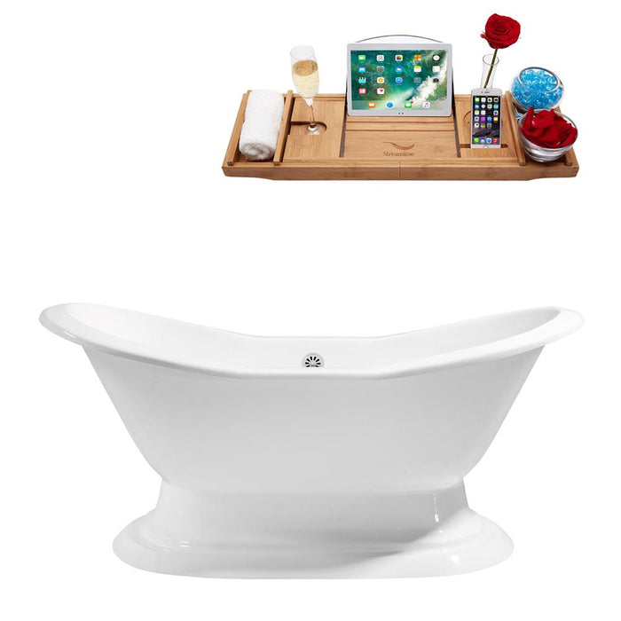"72"" Cast Iron R5200WH Soaking freestanding Tub and Tray with External Drain"