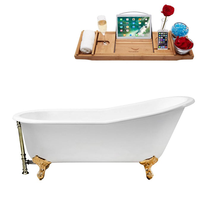 "67"" Cast Iron R5220GLD-BNK Soaking Clawfoot Tub and Tray with External Drain"