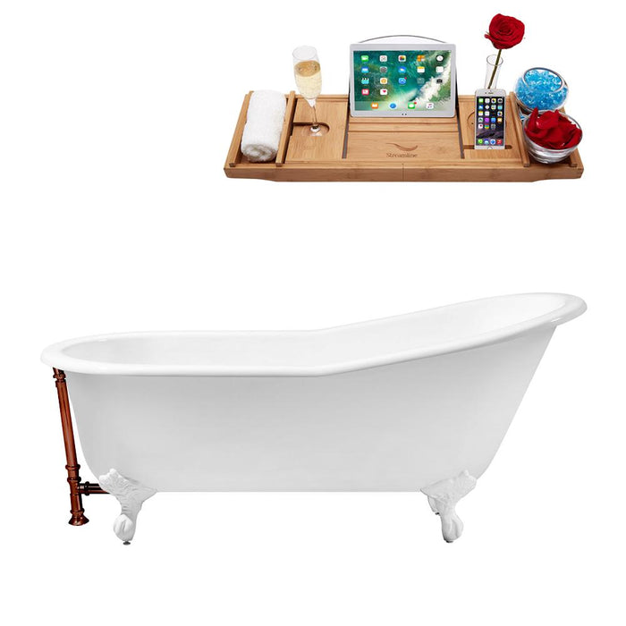 "67"" Cast Iron R5220WH-ORB Soaking Clawfoot Tub and Tray with External Drain"