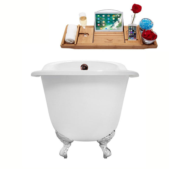 "61"" Cast Iron R5221CH-ORB Soaking Clawfoot Tub and Tray with External Drain"