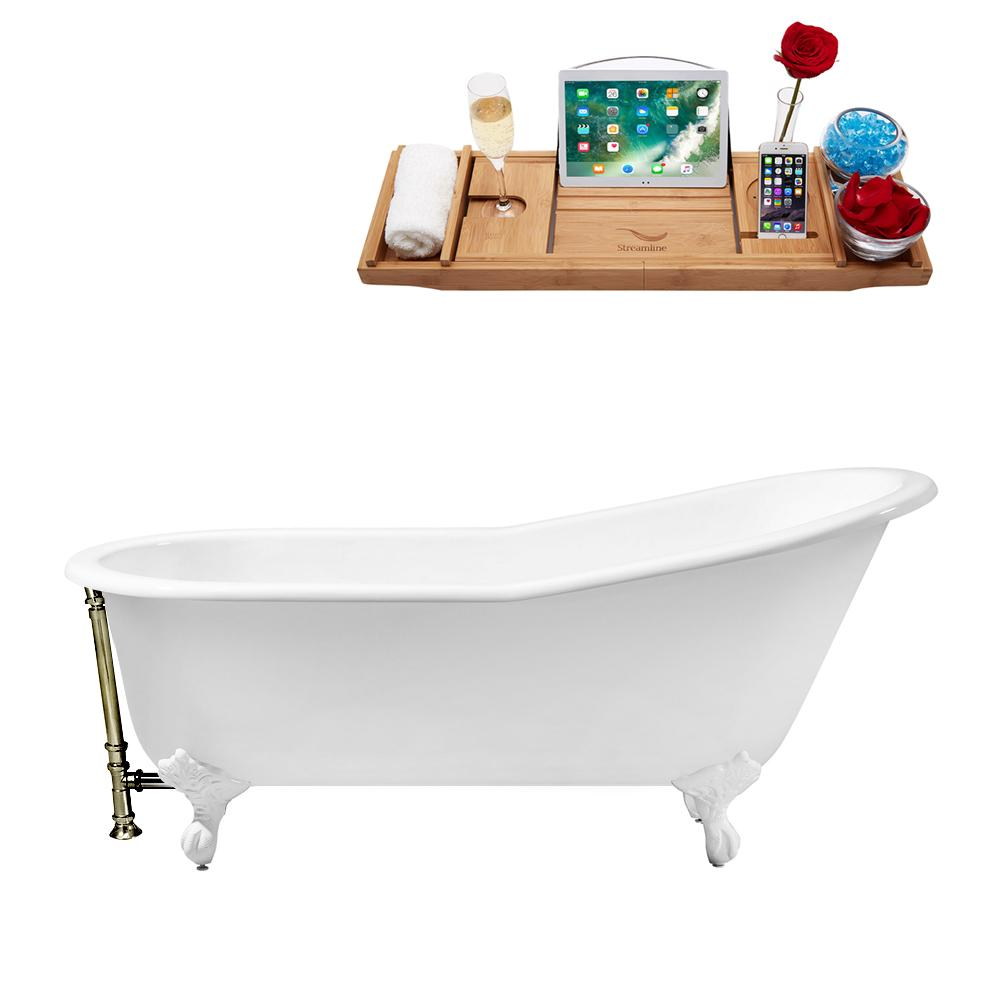 "61"" Cast Iron R5221WH-BNK Soaking Clawfoot Tub and Tray with External Drain"