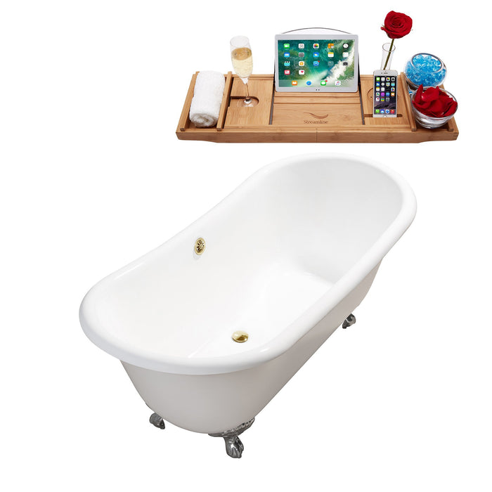 "71"" Cast Iron R5240CH-GLD Soaking Clawfoot Tub and Tray with External Drain"