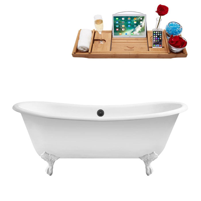 "71"" Cast Iron R5240WH-BL Soaking Clawfoot Tub and Tray with External Drain"