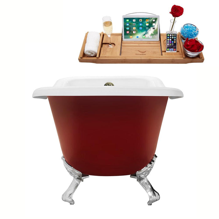 "66"" Cast Iron R5280CH-BNK Soaking Clawfoot Tub and Tray with External Drain"