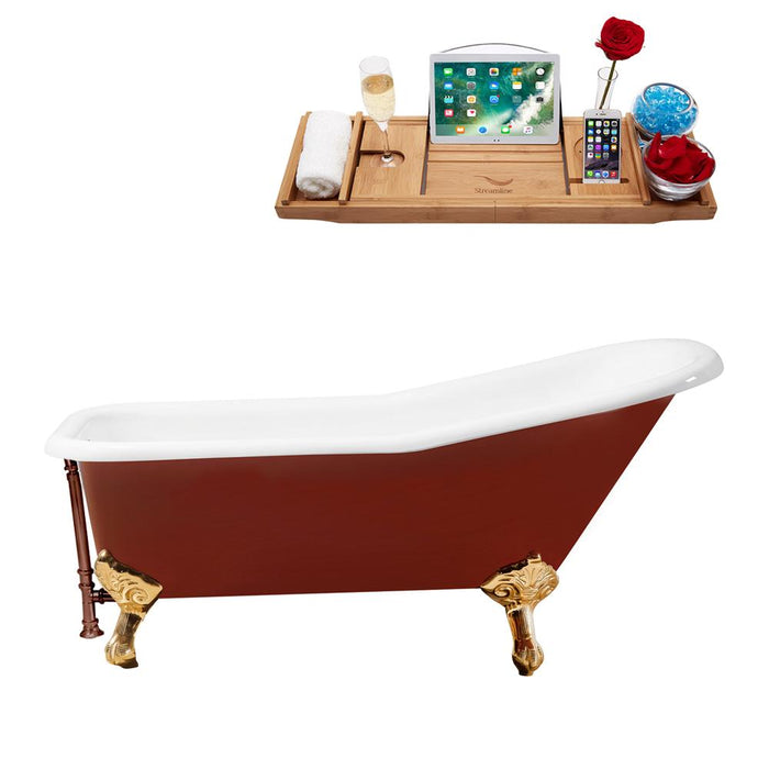 "66"" Cast Iron R5280GLD-ORB Soaking Clawfoot Tub and Tray with External Drain"