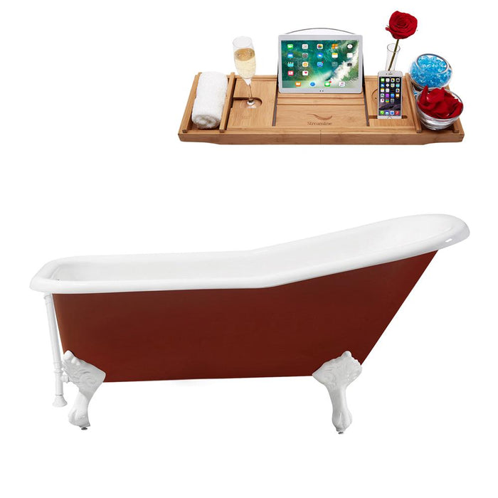 "66"" Cast Iron R5280WH-WH Soaking Clawfoot Tub and Tray with External Drain"