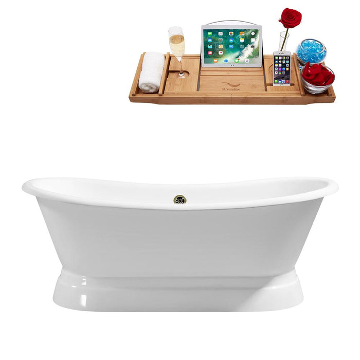 "71"" Cast Iron R5300BNK Soaking freestanding Tub and Tray with External Drain"