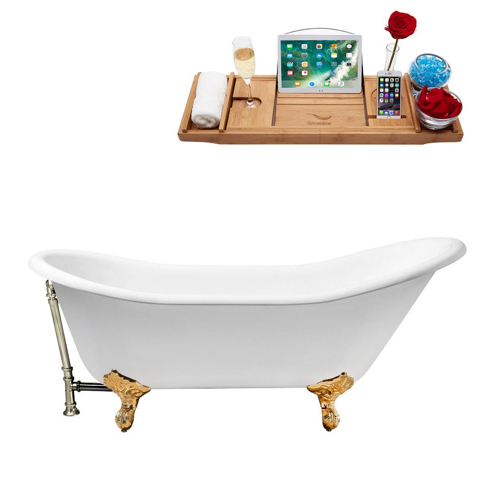 "67"" Cast Iron R5420GLD-BNK Soaking Clawfoot Tub and Tray with External Drain"