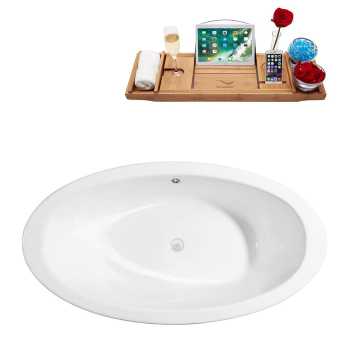 "65"" Cast Iron R5440WH-WH Soaking Clawfoot Tub and Tray with External Drain"