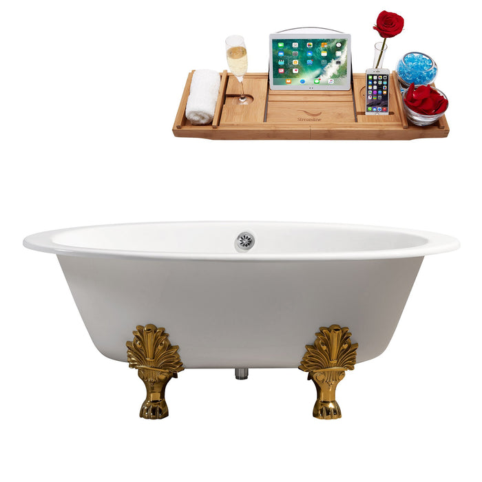 "65"" Cast Iron R5442GLD-CH Soaking Clawfoot Tub and Tray with External Drain"