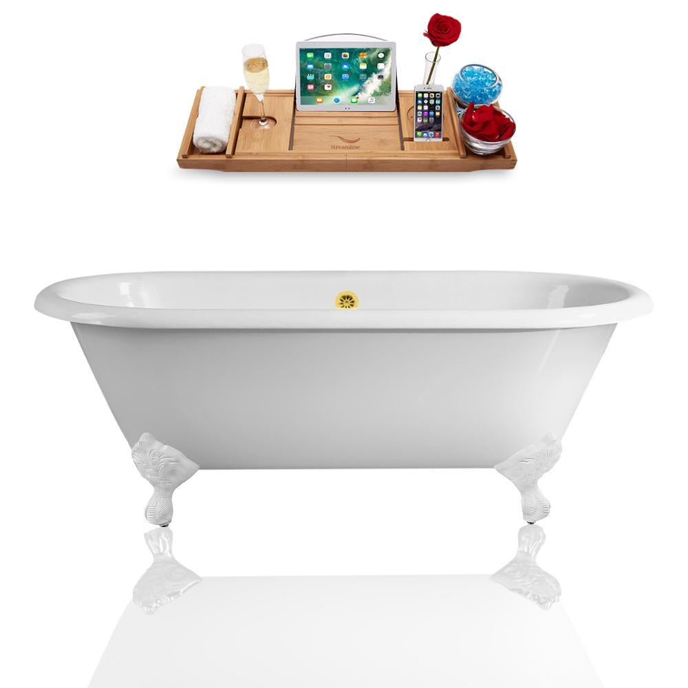 "60"" Streamline Cast Iron R5500WH-GLD Soaking Clawfoot Tub and Tray with External Drain"
