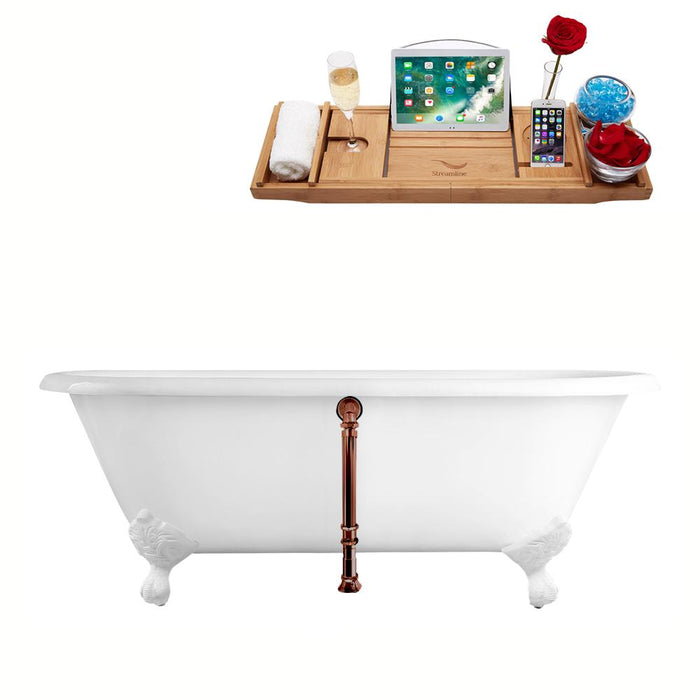 "60"" Streamline Cast Iron R5500WH-ORB Soaking Clawfoot Tub and Tray with External Drain"