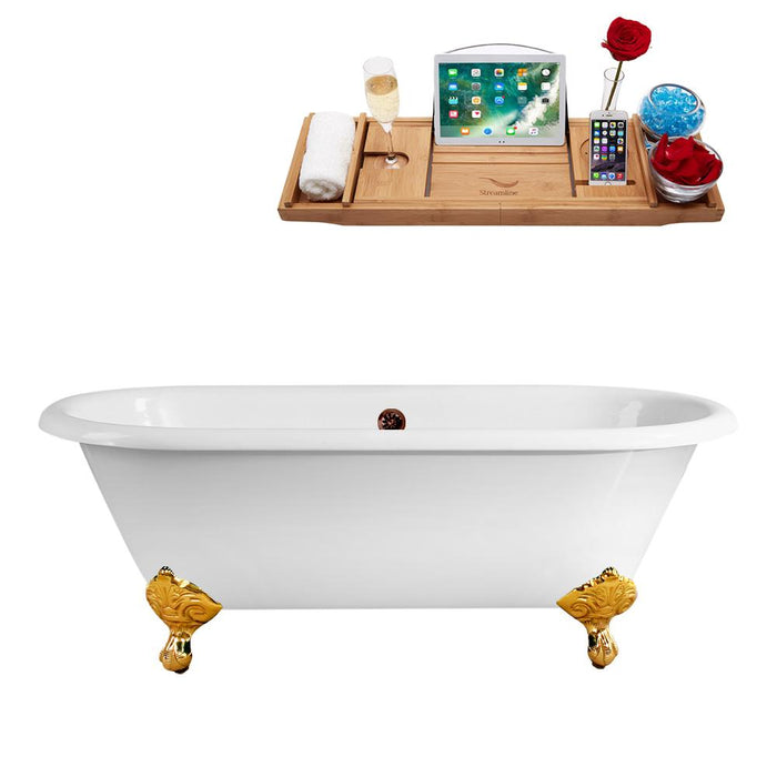 "66"" Streamline Cast Iron R5501GLD-ORB Soaking Clawfoot Tub and Tray with External Drain"
