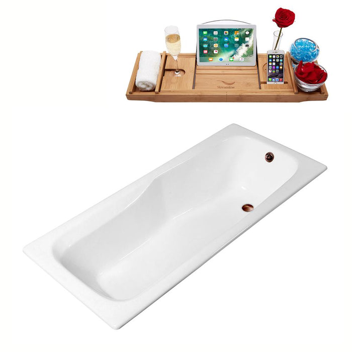 "71"" Streamline Cast Iron R5540ORB Drop In Bathtub with External Drain"