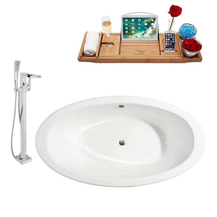 "Cast Iron Tub, Faucet and Tray Set 65"" RH5442GLD-CH-100"