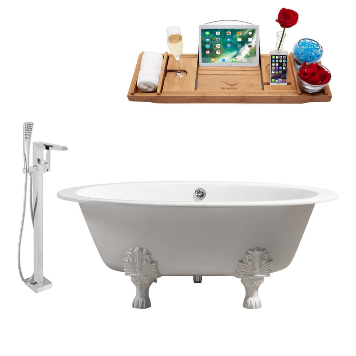 "Cast Iron Tub, Faucet and Tray Set 65"" RH5442WH-CH-100"