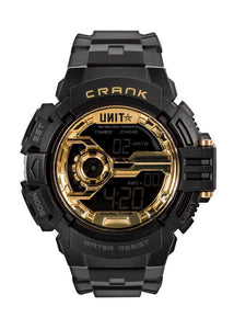 UNIT WORKWEAR WATCH UNIT WATCH MENS WATCH - CRANK BLACK/GOLD  HOUR, MINUTE, SECOND AM/PM, 12/24-HOUR FORMAT DAY OF THE WEEK, DATE & MONTH, DUAL TIME ZONE COUNTDOWN TIMER ALARM & HOURLY CHIME 1/100 SEC. CHRONOGRAPH ELECTRO-LUMINESCENT BACKLIGHT WITH FADING EFFECT WATER-RESISTANT WR100M