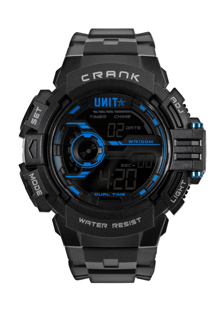 UNIT WORKWEAR UNIT WATCH MENS WATCH - CRANK BLACK/BLUE  HOUR, MINUTE, SECOND AM/PM, 12/24-HOUR FORMAT DAY OF THE WEEK, DATE & MONTH, DUAL TIME ZONE COUNTDOWN TIMER ALARM & HOURLY CHIME 1/100 SEC. CHRONOGRAPH ELECTRO-LUMINESCENT BACKLIGHT WITH FADING EFFECT WATER-RESISTANT WR100M