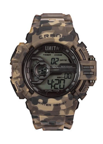 UNIT WORKWEAR UNIT WATCH MENS WATCH - CRANK CAMO  HOUR, MINUTE, SECOND AM/PM, 12/24-HOUR FORMAT DAY OF THE WEEK, DATE & MONTH, DUAL TIME ZONE COUNTDOWN TIMER ALARM & HOURLY CHIME 1/100 SEC. CHRONOGRAPH ELECTRO-LUMINESCENT BACKLIGHT WITH FADING EFFECT WATER-RESISTANT WR100M
