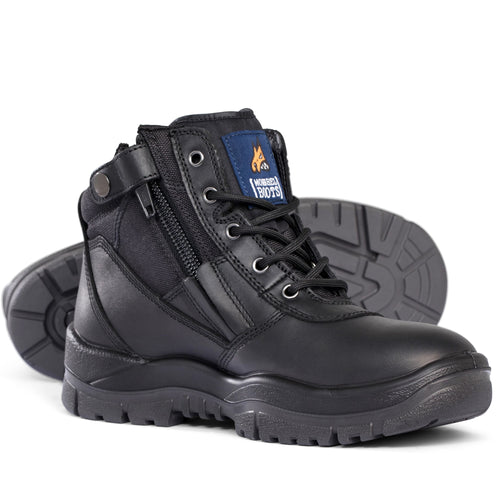 Mongrel - Black Low Lace Up Zip Sided Safety Boot