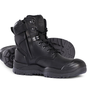 Mongrel - Black High Leg Zip Safety Vibram Rubber Boot