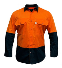 Load image into Gallery viewer, Aus Cotton Long Sleeve Hi Vis Shirt