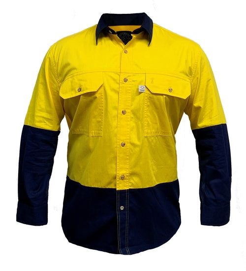Aus Cotton Long Sleeve Hi Vis Shirt