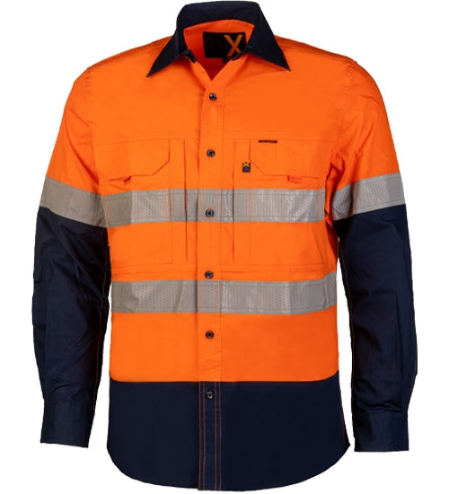 Cool Reflective work Shirt, RMX, Work Shirt, Orange /Navy, Reflective, Night Time Shirt, Stretchy, Breathable, Cool,
