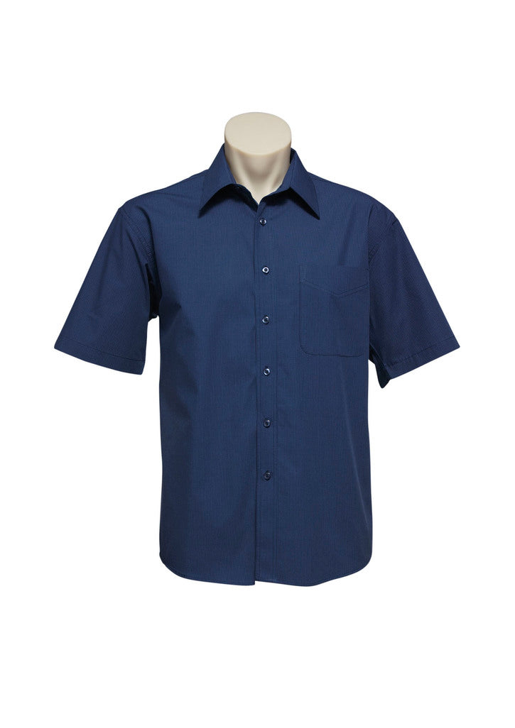 Short Sleeve Mens Micro Check Shirt