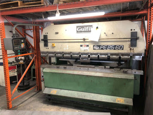 66 Ton x 8' Guifil PE2560 CNC Hydraulic Press Brake, Stock 1152