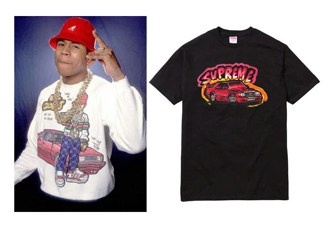 Original 190E Graphic (Left) and the reworked Supreme version (Right)