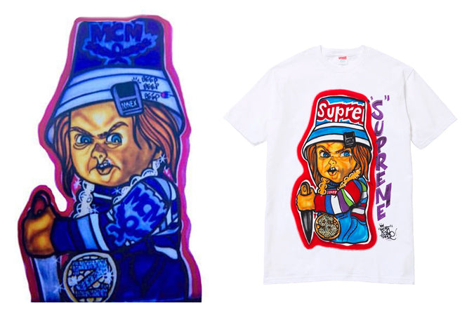 Original Chucky Graphic (Left) and the reworked Supreme version (Right)