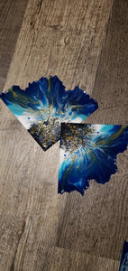 Blue, white, black and gold Agate Slice coasters with Swarovski Crystals